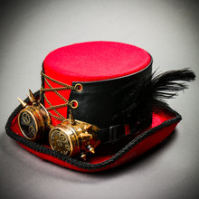 Steampunk Halloween Vintage Top Hat with Gold Goggles - Red Black