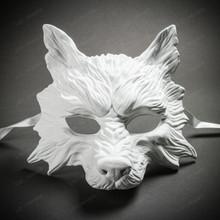 Wild Wolf Animal Full Face Masquerade Mask - White