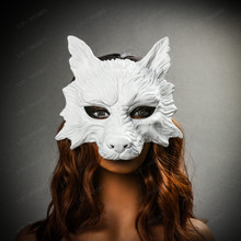 Wild Wolf Animal Full Face Masquerade Mask - White with female model