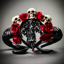 Gothic Demon Halloween Skull Horn Headband with Lace Cape - Black