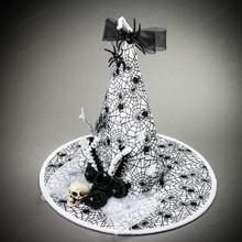 Witch Hat w/ Skull Hanging Spider - White