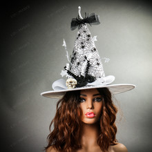 Witch Hat w/ Skull Hanging Spider - White with Female Model