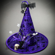 Witch Hat w/ Skull Hanging Spider - Purple