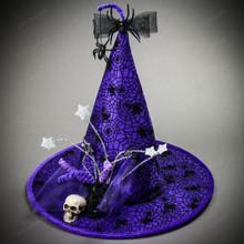 Witch Hat w/ Skull Hanging Spider - Purple