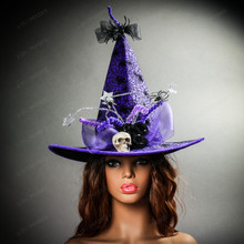 Witch Hat w/ Skull Hanging Spider - Purple With female model