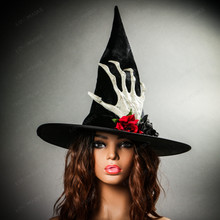 Witch Hat w/ side Skull Hand & Rose - Black with Female Model