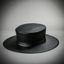 Steampunk Plague Doctor Flat Top Hat - Black