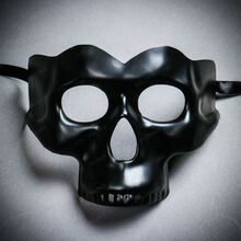 Halloween Half Skull Face Mask Masquerade Day of the Dead - Black