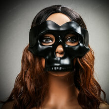 Halloween Half Skull Face Mask Masquerade Day of the Dead - Black (with female model)