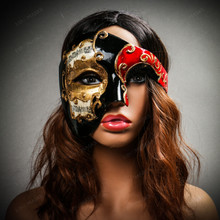 Phantom Of Opera Musical Masquerade Venetian Men Full Mask - Black Red (USM-M2604-BKRD) with female model
