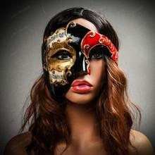 Phantom Of Opera Musical Masquerade Venetian Men Full Mask - Black Red (USM-M2604-BKRD) with female model