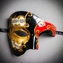 Phantom Of Opera Musical Masquerade Venetian Men Full Mask - Black Red (USM-M2604-BKRD)