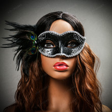 Venetian Side Feather Glitter Eyes Mask Black Silver with female model
