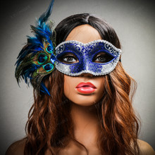 Venetian Side Feather Glitter Eyes Mask - Silver Blue