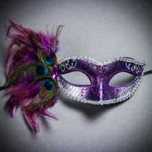 Venetian Side Feather Glitter Eyes Mask - Silver Purple