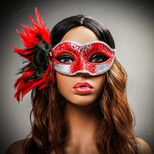 Venetian Side Feather Glitter Eyes Mask - Silver Red with female model