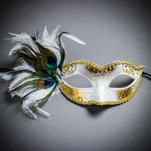 Venetian Side Feather Glitter Eyes Mask - White Gold