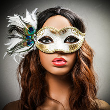 Venetian Side Feather Glitter Eyes Mask - White Gold with female model
