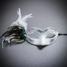 Venetian Side Feather Glitter Eyes Mask - White Silver