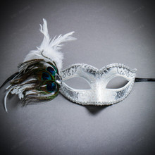Venetian Side Feather Glitter Eyes Mask - White Silver