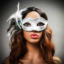 Venetian Side Feather Glitter Eyes Mask - White Silver (with female model)