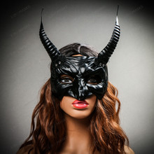 Goblin Devil Long Horn Eyes Mask - Black (with female model)