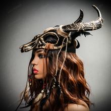 Antelope Devil Horns Animal Skull Ghost Masquerade Mask - Black Gold with female model