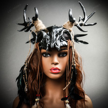 Antelope Devil Deer Horn Skull Ghost Masquerade Mask - Black Silver with female model