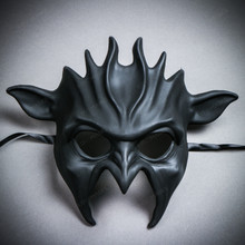 Fire Flame Demon Masquerade Full Face Mask - Black