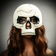 Halloween Skeleton Day of the Dead Skull Mask with Black Eyes - White (with female model)