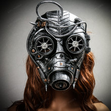 Steampunk Goggles Gas Full Face Mask - Silver (with female model)