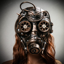 Steampunk Goggles Gas Full Face Mask - Gold with Female Model