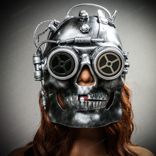 Steampunk Goggles Skull Robotic Masquerade Mask Black Silver with female model
