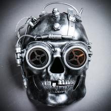 Steampunk Goggles Skull Robotic Masquerade Mask - Black Silver