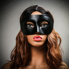 Venetian Half Face Eye Mask Masquerade - Black (with female Model)