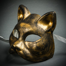 Venetian Gatto Cat Masquerade Mask - Black Gold