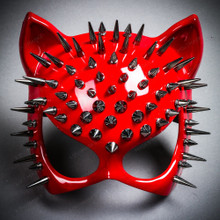 Cat Steampunk Spike Masquerade Sexy Face Mask - Glossy Red