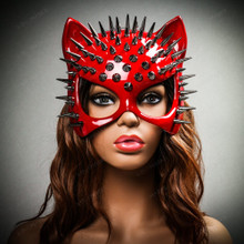 Cat Steampunk Spike Masquerade Sexy Face Mask - Glossy Red (with female model)