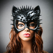 Cat Steampunk Spikes Masquerade Sexy Face Mask - Black (with female model)