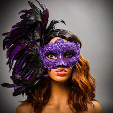 Luxury Traditional Venice Women Carnival Masquerade Venetian Mask with side Feather - Purple with models