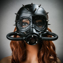 Submarine Full Face Steampunk Gas Mask Black with Female Model
