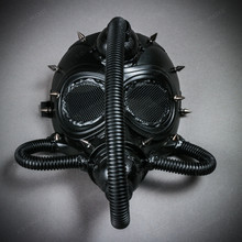 Submarine Full Face Steampunk Gas Mask with Hose - Black