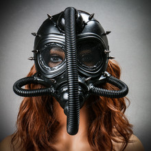 Submarine Full Face Steampunk Gas Mask with Hose Black with Female Model