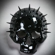 Steampunk Spikes Skull Venetian Masquerade Half Face Mask - Black