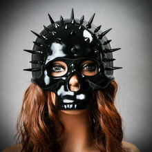 Steampunk Spikes Skull Venetian Masquerade Half Face Mask - Black with Female Model
