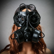 Goggles and Gas Mask Steampunk Half Face Mask Black with  Female Model