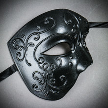 Phantom of Opera Design Venetian Masquerade Party Mask - Black