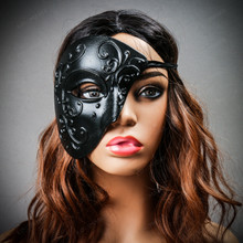 Phantom of Opera Design Venetian Masquerade Party Mask Black with Female Model