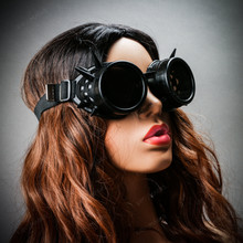 Steampunk Goggles with Spike Black with female model