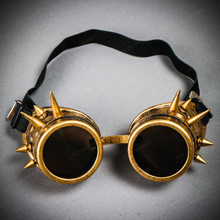 Steampunk Goggles with Spike - Metallic Gold